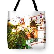 View Of The Village With Trees And Curve Tote Bag