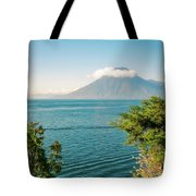 View Of Volcano San Pedro With A Crown Of Clouds In Guatemala Tote Bag