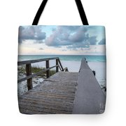 View Of White Sand And Blue Ocean From Wooden Boardwalk Tote Bag