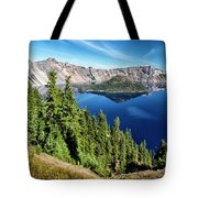 View Of Wizard Island Crater Lake Tote Bag
