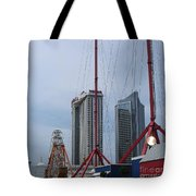 View Oftajmahal Hotel Atalantic City America From The Play Ground Family Entertainment Centre Beach Tote Bag