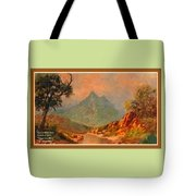 View On Blue Tip Mountain H A With Decorative Ornate Printed Frame. Tote Bag