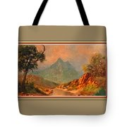 View On Blue Tip Mountain H B With Decorative Ornate Printed Frame. Tote Bag
