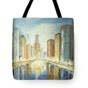 View Up The Chicago River Tote Bag