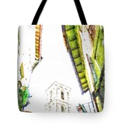 View With Bell Tower Tote Bag
