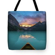 Viewing Snowy Mountain In Rising Sun From A Canoe Tote Bag