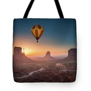 Viewing Sunrise At Monument Valley Tote Bag