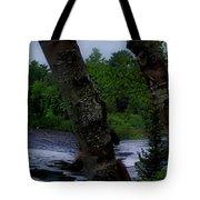 Viewing Tahquamenon Lower Falls Upper Peninsula Michigan Panorama 02 Tote Bag