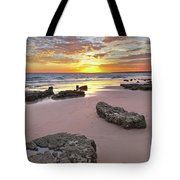 Gale Beach At Sunset. In Algarve Tote Bag