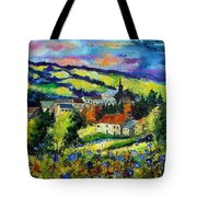 Village And Blue Poppies  Tote Bag