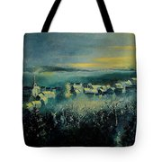 Village In A Misty Morning  Tote Bag
