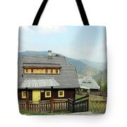Village With Wooden Houses On Mountain Tote Bag