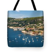 Villefranche-sur-mer And Cap De Nice On French Riviera Tote Bag