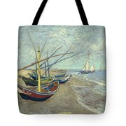 Vincent Van Gogh  Fishing Boats On The Beach At Les Saintes Maries De La Mer Tote Bag