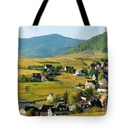 Vineyards In Autumn In The Morning Tote Bag