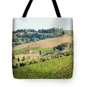 Vineyards With Stone House, Tuscany, Italy Tote Bag