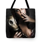 Vintage Army Pinup Girl Holding Gas Mask Tote Bag