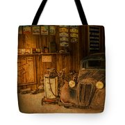 Vintage Auto Repair Garage With Truck And Signs Tote Bag