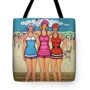 Vintage Beach Scene - Holiday At The Seashore Tote Bag