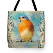 Vintage Bluebird With Flourishes Tote Bag