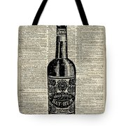 Vintage Bottle Of Rum Over Antique Book Page Tote Bag