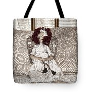 Vintage Button Angel Doll On Crocheted Spread Tote Bag