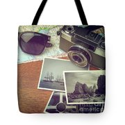 Vintage Camera And Map Tote Bag
