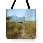 Vintage Camping Trailer Near The Sea Tote Bag