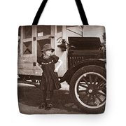 Vintage Car And Old Fashioned Girl Tote Bag