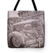 Vintage Car On The Street Tote Bag