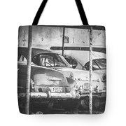 Vintage Cars At Night Bw Tote Bag