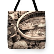 Vintage Concept Of Fly Reel And Pole With Trout In Net  Tote Bag