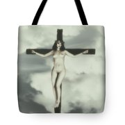 Vintage Crucified Woman Tote Bag