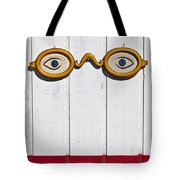 Vintage Eye Sign On Wooden Wall Tote Bag