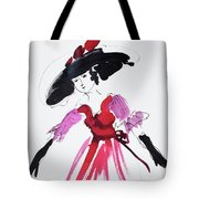 Vintage Fashion In Pink And Black Tote Bag
