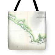 Vintage Florida Panhandle Coastal Map - 1852 Tote Bag