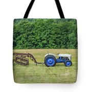 Vintage Ford Blue And White Tractor On A Farm Tote Bag