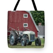 Vintage Ford Farm Tractor With Red Barn Tote Bag