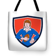 Vintage French Rugby Player Holding Ball Crest Cartoon Tote Bag