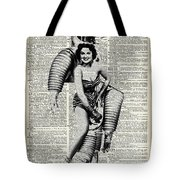 Vintage Girl In Robot Costume Tote Bag