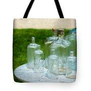Vintage Glass Bottles On Table Tote Bag