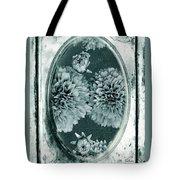 Vintage Glass Cyanoplate Dahlias Tote Bag