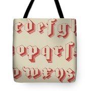 Vintage Gothic Font Red Tote Bag