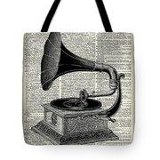 Vintage Gramophone Tote Bag by Anna W