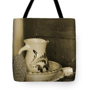 Vintage Grooming Set And Stoneware Water Pitcher In Sepia Tones Tote Bag