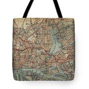 Vintage Hamburg Railway Map - 1910 Tote Bag