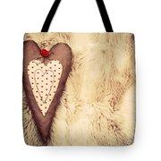Vintage Handmade Plush Heart Pillow On The Soft Blanket Tote Bag