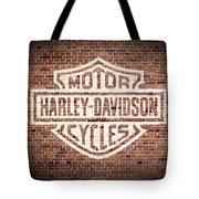 Vintage Harley Davidson Logo Painted On Old Brick Wall Tote Bag