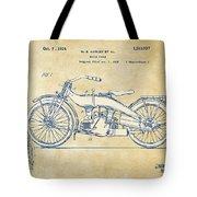 Vintage Harley-davidson Motorcycle 1924 Patent Artwork Tote Bag by Nikki Smith