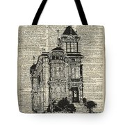 Vintage House Over Dictionary Page Tote Bag